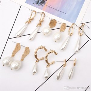 New Fashion Gold Plated Irregular Pearl Dangle Earrings For Women Gifts Wedding Geometric Statement Baroque Drop Earring Mix Designs