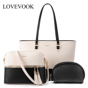 bayanlar büyük çantası seti için LOVEVOOK kadın omuz çantaları crossbody çanta 3 adet debriyaj ve çanta lüks çanta kadın tasarımcı CX200622