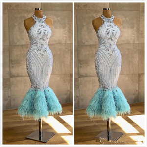 Aso Ebi 2020 Luxurious Mermaid Evening Dresses Beading Lace Tea Length Prom Dresses Sexy Formal Party Pageant Gowns For Arabic Women