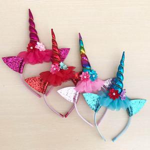 çiçek Unicorn Saç payet boynuzlu at tasarımcı saç bandı doğum günü partisi bebeğin kafa bantları Kızlar baş bantları Baş Bantları Bebekler A3316 Sticks