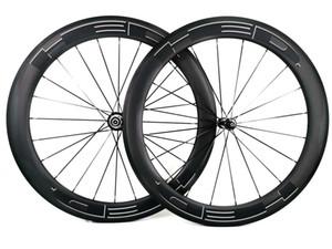 profondità 700C 60 millimetri strada spinge carbonio larghezza di 25mm Strada bicicletta graffatrice del carbonio / tubolare wheelset cerchio finitura cerchio U UD opaco U