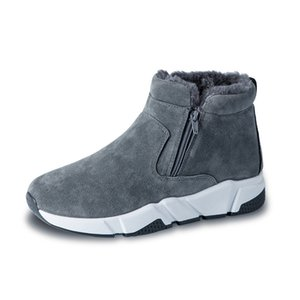 Winter Cow Suede Men Snow Fashion Sneakers Man Leather Snow Boots Shoes High Cut Two Zipper Male Fur Plush Warm Shoes Booties