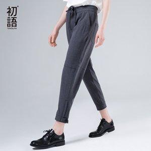 Toyouth Harem Pantolon Kadınlar 2019 Yaz Gevşek Pantolon Femme Orta Wasit Ayak bileği uzunluğu Pantolon ile