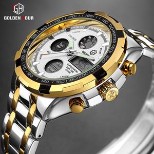 Top Marque de luxe heure dorée Quartz Mens Watch numérique Montres Hommes Army Watch militaire Sport Homme Horloge Relogio Masculino
