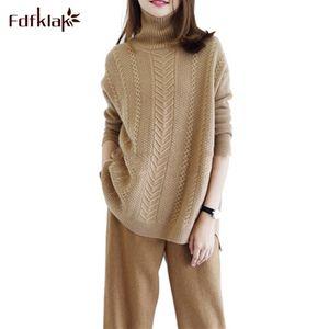 Fdfklak Autunno Inverno donne maglioni di moda 2019 donne dolcevita di cachemire femminile maglione lavorato a maglia Pullover allentati Abbigliamento