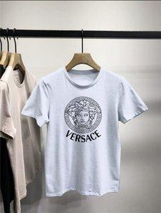 VERSACE мужской дизайнер футболки лето Crew Neck с коротким рукавом Хлопок Tshirts Casual Soft Plus Размер Топы Тис