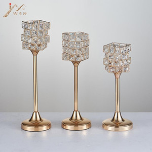 New peculiar metal golden finish candle holder with crystals wedding candelabra centerpiece home decoration candlesticks