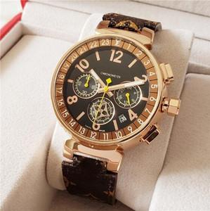 HK Tienda libre de impuestos Francés Arriba marca correa de cuero de las mujeres del cronógrafo calendario completo los relojes de cuarzo Zona horaria múltiple de alta calidad