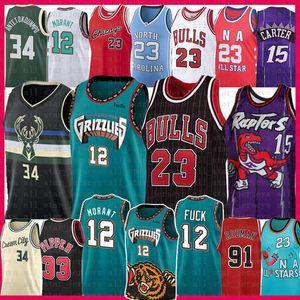 Ja 12 Morant 23 Michael Vince Carter 15 pallacanestro Jersey Buck Bull Grizzlie Giannis 34 Antetokounmpo Scottie Pippen Dennis Rodman Ray Allen
