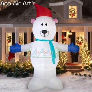 горячая продавать надувные Рождество модели животных, освещая надувную модель медведя Рождества, завышенные белый медведь на открытый воздух