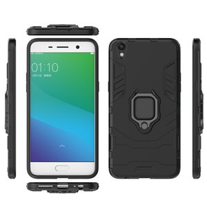 2 in 1 Car Stand HolderFinger Ring Phone Case Hard Phone Case for OPPO R9 Plus Armor Case Back Cover