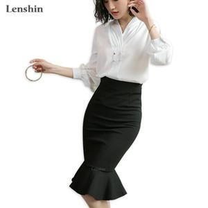 여자를위한 Lenshin 중간 송아지 길이 블랙 제국의 캐주얼 트럼펫 인어 공주 스커트