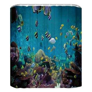 Ванная комната с душевой занавес Крючки моющийся океана Mold Proof Антибактериальное 3D Декоративные полиэфирной ткани Большой водонепроницаемый