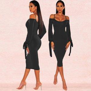 Omuz Elbise Moda Sling Sıkı Seksi Kadınlar Önlük Casual Luxury Yaz Yeni Kapalı Tasarımcısı Womens Katı Renk Etek Hot Varış