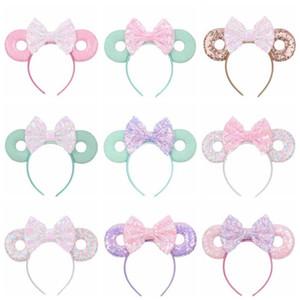 Bebek Saç Fare Ears Saç Band15 Renk Glitter Payetler Yaylar Donut Kafa Çocuk Cosplay Headdress Hoop Çocuk Saç Aksesuarları Sticks
