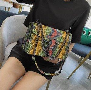 оптовые сумки женщин внешней стиль печати цвет цепи мешок улица тенденция змеевик плечо сумка ретро пряжки серпантин кожа Messenge