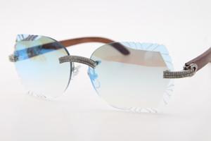 2020 Pierres de gros! Lunettes bois cerclées unisexe or Lunettes de soleil en bois femme avec l'homme sculpté miroir bleu lentille lunettes de conduite