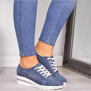 Plataforma de las mujeres calza los zapatos de moda de lujo de la vendimia formadores de diseño de lujo del cuero Casual zapatillas de deporte con cordones zapatos planos Plate-forme