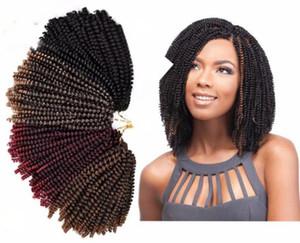 30Roots / Pcs Crochet Trecce di estensioni dei capelli neri / Bug / Brown omber Colore Primavera Twist capelli crespi ricci Twist capelli sintetici 8 pollici FZP238