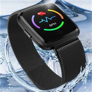 H4 Bluetooth Smart Bracelet IP68 Waterproof HD Colorful Touch Screen Intelligent BP HR Health Monitor Smart Watch with Steel Belt 3 Colors
