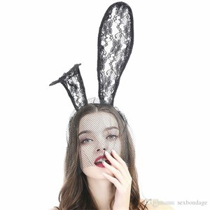 Women Sexy Lace Rabbit Ear Head Band With Mesh Veil Mask Cosplay Game Party Headband Animal Ears Bunny Hair Accessories