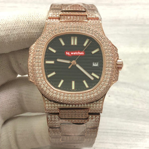 최고 노동자 남자의 다이아몬드 시계 로즈 골드 다이아몬드 스트랩 스테인레스 스틸 로즈 골드 케이스 손목 시계 자동 기계식 시계