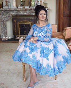 Blue Lace Appliques Short Prom Dresses Long Sleeves 2020 Engagement Celebration Beading Ball Gown Formal Evening Party Gown Knee Length