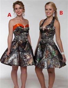 저렴한 카모 짧은 댄스 파티 드레스 아가 사틴 새틴 라인 무릎 길이의 들러리 파티 드레스 Vestidos De Festa Homecoming Dresses