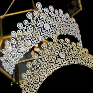 En kaliteli prenses büyük boy altın / gümüş CZ taç gelin düğün headdress kristal düğün saç aksesuarları