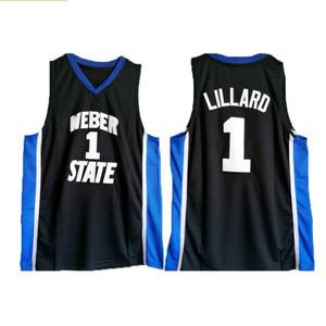 Lillard # 1 der College-Männer schwarz genäht Weber-Staat ziehen sich Damian NCAA Universität-Basketball-Trikots Größe S-2XL zurück
