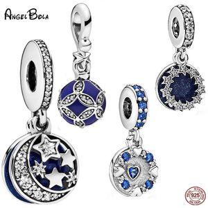 New 925 Silver Zircon Star Dream Stars Moon Dangle Charms Blue Charm Heart Fit Women Bracelet Necklace DIY Pan Jewelry