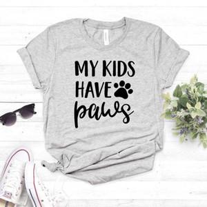 Benim çocuklarım var Paws köpek kedi anne Lady Kız Üst Tee Hipster Bırak Gemi NA-341 için Pamuk Casual Komik t gömlek tişört Kadınlar yazdır
