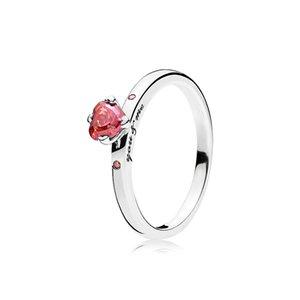 Box per Pandora 925 Sparkling Silver Anello Cuore rosso della CZ Diamond Heart Wedding Ring originale con la scatola di vendita al dettaglio