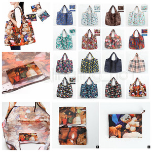 28styles Folding Portable Shopping Bag cartoon printed Portable Environmental Large Capacity Waterproof Storage Bags 47*42CM FFA1855