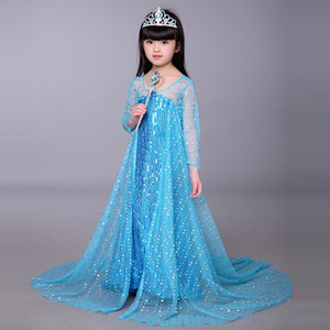 Bebê Cosplay Outfits menina Sequins príncipes vestido de manga comprida Gauze Manto andar de comprimento vestido Crianças de Halloween Day Desempenho Costume M199