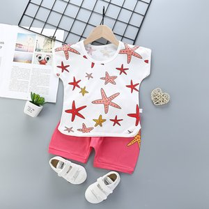 New Summer Causal Short Suit Toddler Boys Clothes Set Kids Girls Printed Suit T-shirt+Pants 2Pcs Outfits Hot 2-10 Years