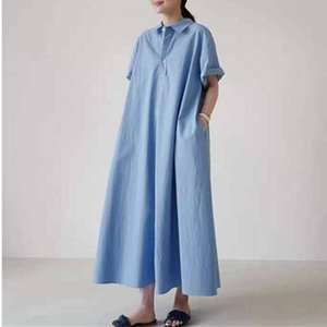 wholesale Summer New Korean Casual Turn-down Collar Solid Color Loose Women Shirt Dresses 2020 All Match Pockets Dress