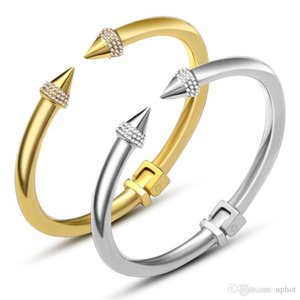Hot Nail jewelry diamond cuff punk bracelet 18k gold silver Bangle hip hop bracelet and rings Korean star the same paragraph titanium steel