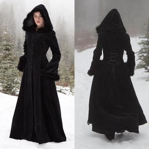 Flat Fleece Capuchas con capucha Capas de boda Wicca Robe Abrigos de calor Chaqueta de novia Navidad Negro Accesorios Accesorios