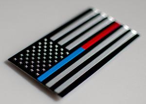 """3D métal mince ligne bleue / rouge drapeau américain autocollant autocollant emblème 3.2 """"x 1.75"""""""