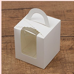 10PCS DIY Paper Box Kake Gift Box Cookie Contenant Dragees De Mariage Badtism Packaging Wedding Party Paper Bags with Handles