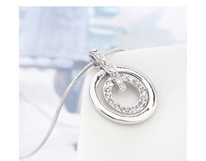 High Quality Crystals From Swarovski Jewelry Sets Fashion Double Circle Pendant Necklace Earrings Sets For Women Wedding Accessories