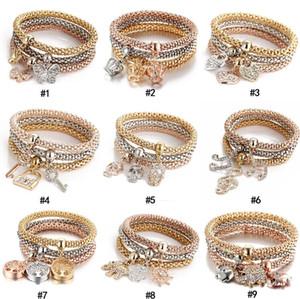 3pcs / set de cristal de la joyería de las mujeres de lujo de diseño pulseras Rhinestone pulsera de la mariposa del árbol de bloqueo de las teclas de la vida A0159 joyería del encanto