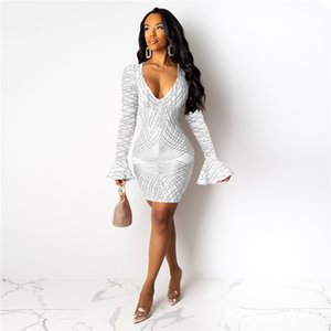 Designer Womens Party Dresses Sequins Autumn Club Sexy Slim Dark V-Neck Flare Long Sleeved Bodycon Dresses Fashion Women Dresses