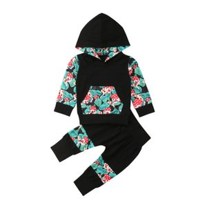 Bebé recién nacido floral sudadera con capucha camiseta de las tapas de los pantalones de las polainas Trajes Sweatsuit