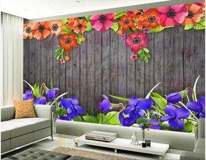 3d duvar kağıdı özel fotoğraf duvar İskandinav minimalist küçük taze suluboya çiçek ahşap tahta retro background ev dekor duvar sanat resim