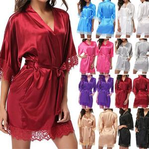 de las mujeres del traje de novia de satén de seda vestido de dama de boda kimono Albornoz noche atractiva del cordón del pijama de la muñeca del traje