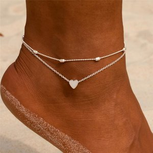 New Vintage Silver Gold Two Layers Chain Heart Anklets For Women Bracelets Summer Barefoot Sandals Jewelry Foot Leg Chain