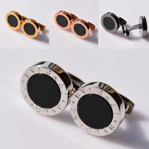 Gemelli circolari da uomo di alta qualità a 4 colori con gemelli per gioielli di marca in metallo rame per gemelli