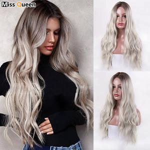 Longues perruques pour femmes ombre platine perruques résistantes à la chaleur résistant à la chaleur Synthétique ondulée pour les femmes afro-américaines Cosplay
